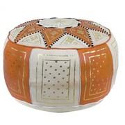 Ikram Design Fez Moroccan Leather Pouf Ottoman; Orange / Beige