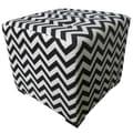 Sole Designs Merton Ottoman; Zig Zag Black and White