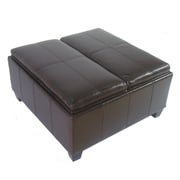 NOYA USA Elegant Leather Storage Ottoman; Espresso