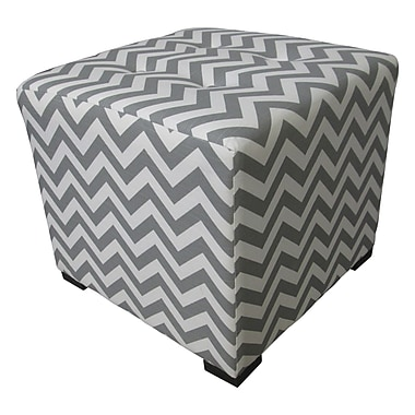 Sole Designs Merton Ottoman; Zig Zag Grey