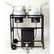 King Kooker Two Burner Outdoor Cooking Cart Package with Two Rectangular Pots with Baskets