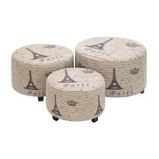 Woodland Imports Handcrafted 3 Piece Ottoman Set in Light Brown