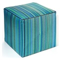 Fab Rugs World Cancun Polypropylene Cube Ottoman; Turquoise/Moss Green