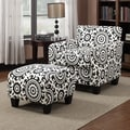 Handy Living Lincoln Park Chair and Ottoman; Black