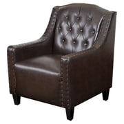 Home Loft Concept Marquise Tufted Faux Leather Club Chair; Brown