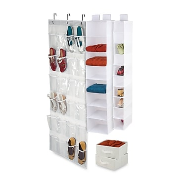 Honey-Can-Do 4-Piece Room Velcro-Style Straps & Clear Vinyl Organization, Set White