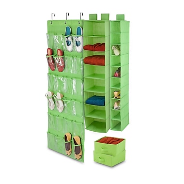 Honey-Can-Do 4-Piece Room Velcro-Style Straps & Clear Vinyl Organization, Set Lime