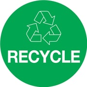 "Tape Logic™ 2"" x 3"" ""RECYCLE"" Circle Inventory Label, Green, 500/Roll"