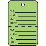 "BOX 1 7/8"" x 1 1/4"" Perforated Garment Tags, Green"