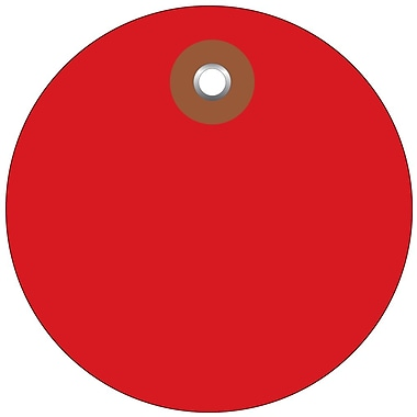 BOX 3in. Plastic Circle Tags, Red