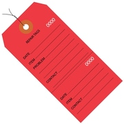 "BOX 6 1/4"" x 3 1/8"" #8 Pre-Wired Consecutively Numbered Repair Tags, Red"