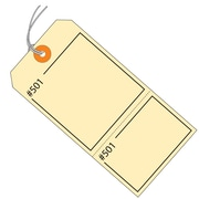 "BOX 4 3/4"" x 2 3/8"" #5 Pre-Strung Consecutively Numbered Claim Tags, Manila"