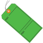 "BOX 4 3/4"" x 2 3/8"" #5 Pre-Strung Consecutively Numbered Claim Tags, Green"