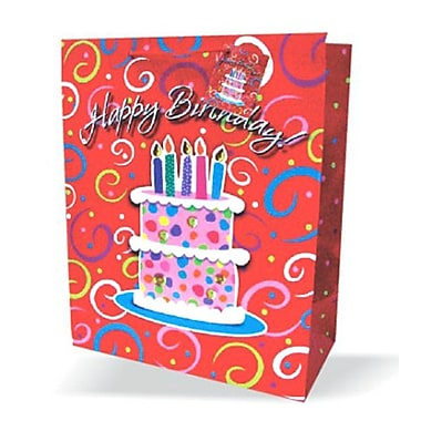 Large Birthday Bags, Cake, 12/Pack
