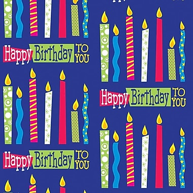 2 Sheet Flat Birthday Wrap, Candles, 12/Pack
