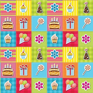 2 Sheet Flat Birthday Wrap, General, 12/Pack