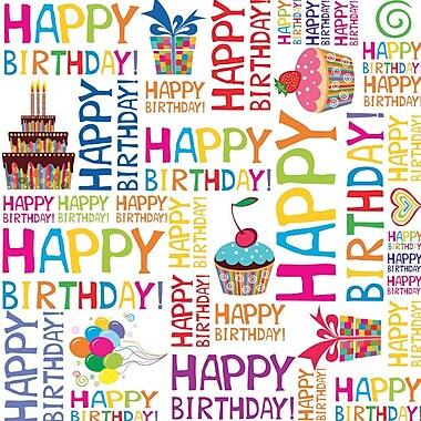 2 Sheet Flat Birthday Wrap, Happy Birthday, 12/Pack