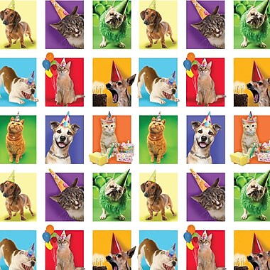 2 Sheet Flat Birthday Wrap, Animals, 12/Pack