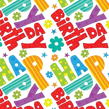 2 Sheet Flat Birthday Wrap, HPB, 12/Pack