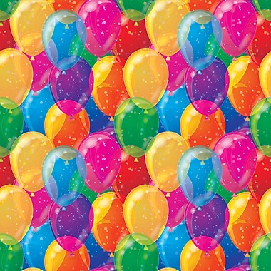 2 Sheet Flat Birthday Wrap, Coloured Balloons, 12/Pack
