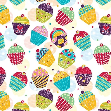 2 Sheet Flat Birthday Wrap, Cupcakes, 12/Pack