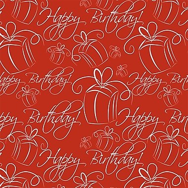2 Sheet Flat Birthday Wrap, Red, 12/Pack
