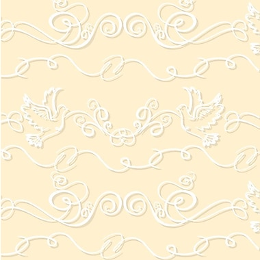 2 Sheet Flat Wedding/Anniversary Wrap, Love Birds, 12/Pack