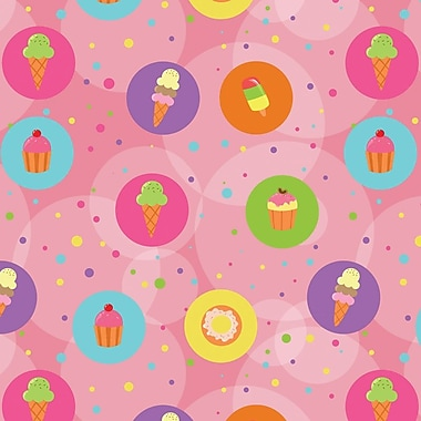 2 Sheet Flat Birthday Wrap, Dessert, 12/Pack