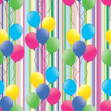 2 Sheet Flat Birthday Wrap, Helium Balloons, 12/Pack