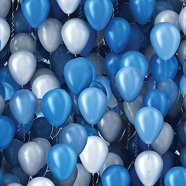 2 Sheet Flat Birthday Wrap, Blue Balloons, 12/Pack