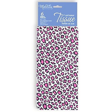 Printed 6 Sheet Tissue Paper, Pink Leopard, 12/Pack