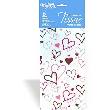 Printed 6 Sheet Tissue Paper, Hearts, 12/Pack