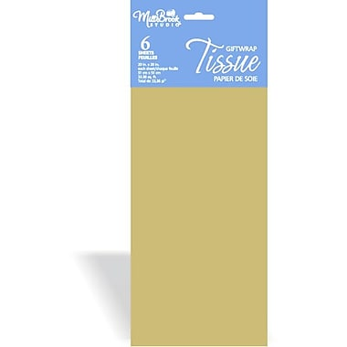 6 Sheet Tissue Paper, Gold, 12/Pack