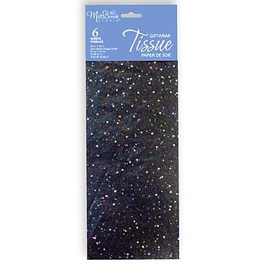6 Sheet Tissue Paper, Sequin Black, 12/Pack