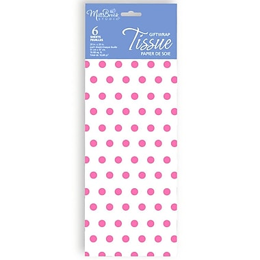 Printed 6 Sheet Tissue Paper, Pink Polka Dot, 12/Pack