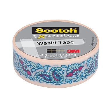 Scotch® Expressions Washi Tape, 15 mm x 10 m, Mint Flowers