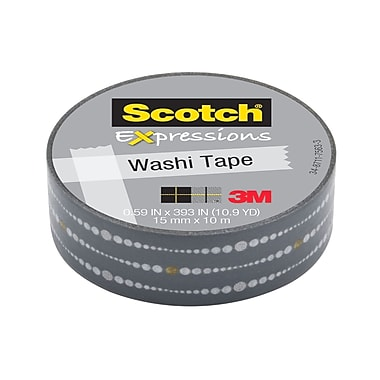 Scotch® Expressions Washi Tape, 15 mm x 10 m, Silver Bubble Dots
