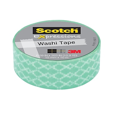 Scotch® Expressions Washi Tape, 15 mm x 10 m, Blue Weave