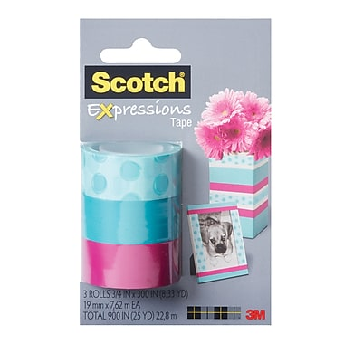 Scotch® Expressions Magic™ Tape, 19 mm x 7.62 m, Circles, Turquoise, Pink, 3/Pack