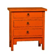 Antique Revival Three Drawer Lacquer End Table; Orange