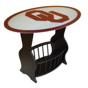 Fan Creations NCAA Glass End Table; Oklahoma