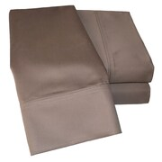 Simple Luxury Cotton Rich 1000 Thread Count Olympic Queen Solid Sheet Set; Taupe
