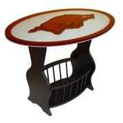 Fan Creations NCAA Glass End Table; Arkansas