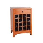Antique Revival Wine Cabinet End Table with Drawer; Orange