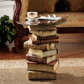 Design Toscano Power of Books Sculptural Glass Topped End Table