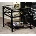Grace Neoclassic Glass End Table; Antique Bronze