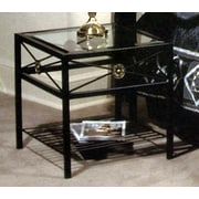 Grace Neoclassic Glass End Table; Satin Black