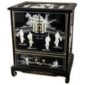 Oriental Furniture Japanese End Table; Black Mother of Pearl Design