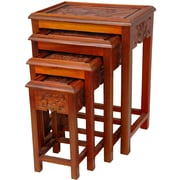 Oriental Furniture 4 Piece Nesting Tables; Two Tone Honey