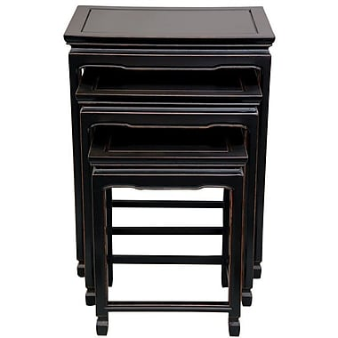 Oriental Furniture 3 Piece Nesting Tables; Antique Black